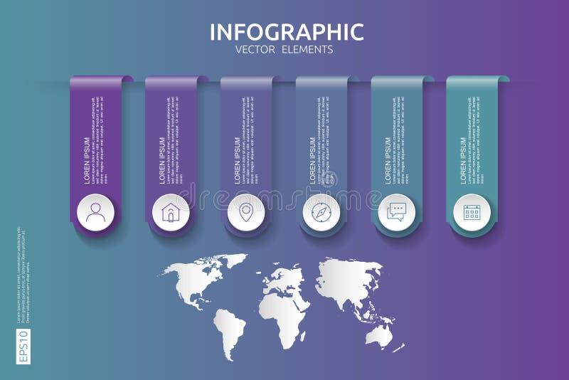 Web6 kroczy infographic linia czasu projekta szablon z 3D papieru etykietką i światowej mapy tłem Biznesowy pojęcie z opcjami dla ilustracji