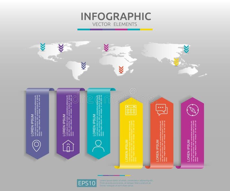 Web6 kroczy infographic linia czasu projekta szablon z 3D papieru etykietką i światowej mapy tłem Biznesowy pojęcie z opcjami dla ilustracja wektor