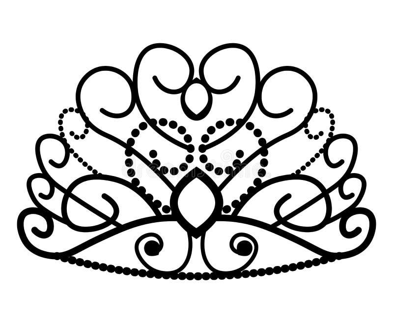 web kroonmascotte met kleurrijke gemstenen Vector illustratie die op witte achtergrond wordt ge?soleerdd Goed voor emblemen, pict stock illustratie