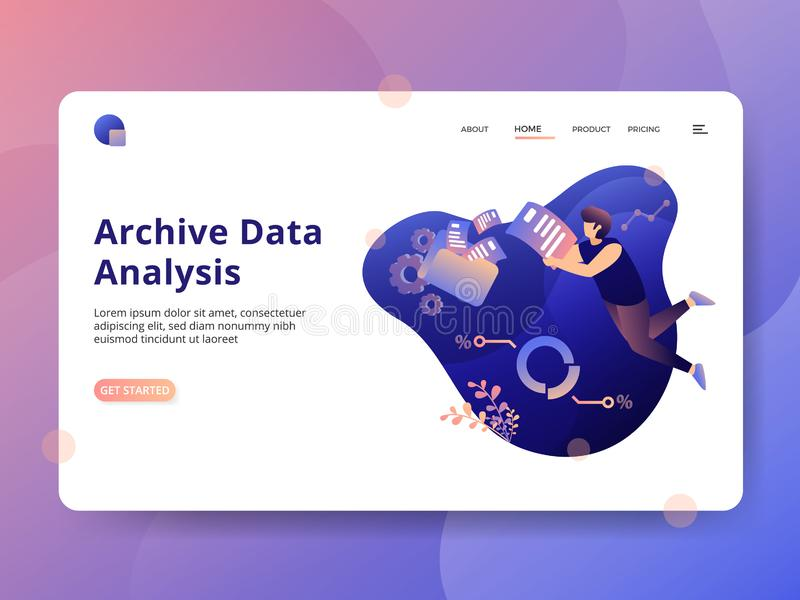 Web. Landing Page Archive Data Analysis, a modern illustration style concept, can be used for landing pages, web, ui, banners, templates, backgrounds, flayer stock illustration