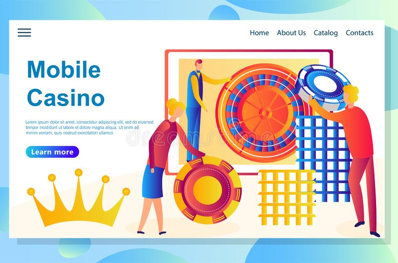 Web landing page design template for casino theme. Big victory to big risk stock illustration