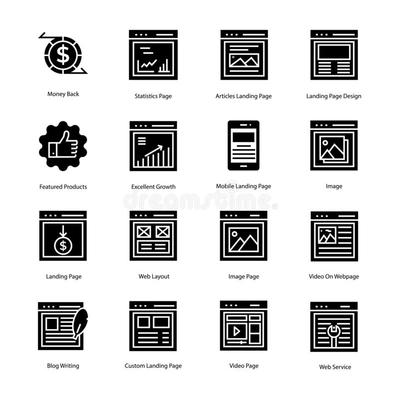 Web Landing Page Solid Icons stock photo