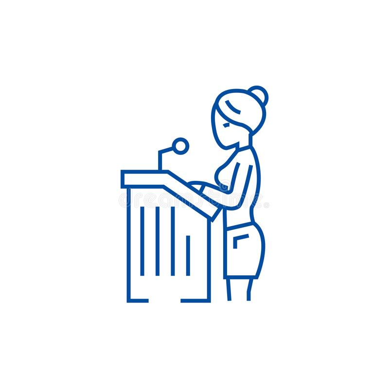 Lawyer woman,speech in court line icon concept. Lawyer woman,speech in court flat vector symbol, sign, outline royalty free illustration