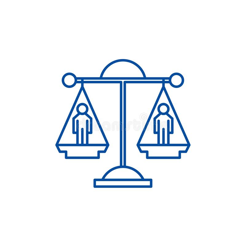 Legal decision line icon concept. Legal decision flat  vector symbol, sign, outline illustration. Legal decision line concept icon. Legal decision flat  vector royalty free illustration