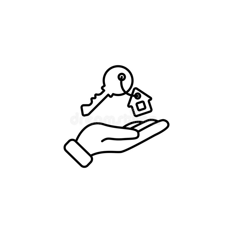Line icon. Key in hand, key from the house royalty free illustration