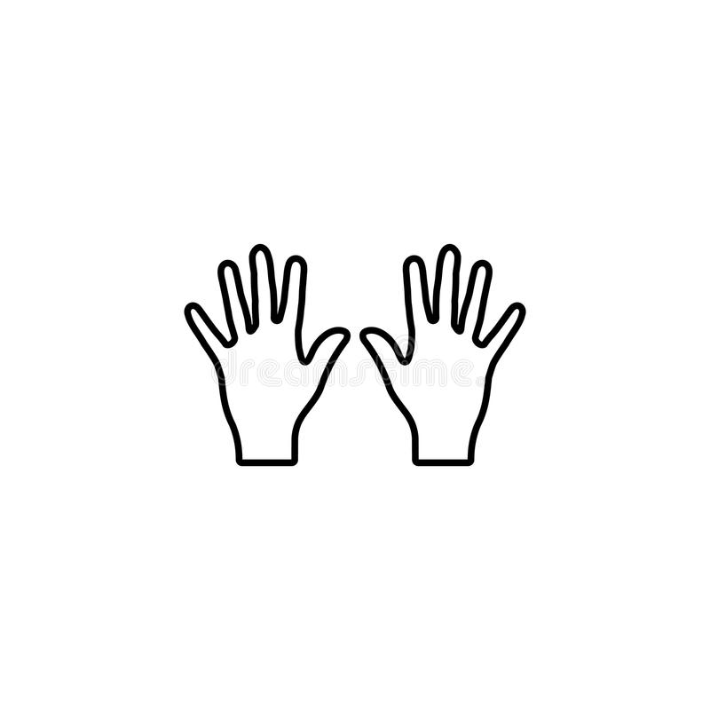 Line icon. Left and right hands, bunch of fives. Web line icon. Left and right hands, bunch of fives stock illustration