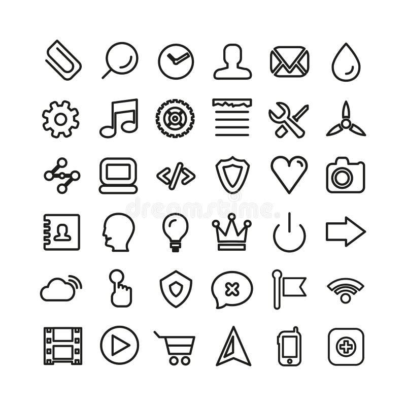 Web line icon set. Thin icons isolated on white. Web line icon set. Ultra thin icons isolated on white stock illustration