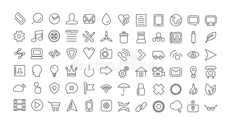Web line icon set. Universal thin icons. This is file of EPS10 format stock illustration