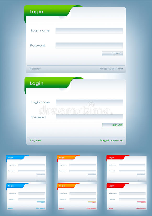 Web login form in bussines style. In different colors stock illustration