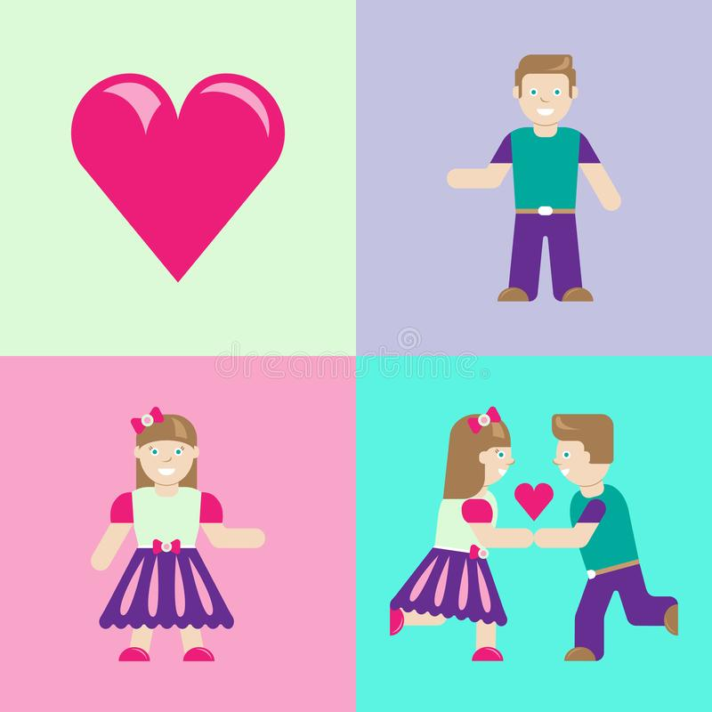 Web. Love story. Boy and girl meeting. Love icons. vector illustration
