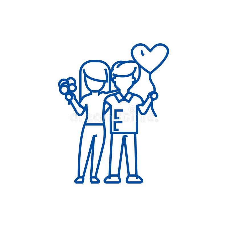 Loving couple with flowers and balloons line icon concept. Loving couple with flowers and balloons flat vector symbol stock illustration
