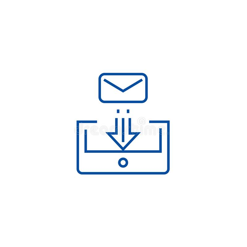 Mail box post line icon concept. Mail box post flat  vector symbol, sign, outline illustration. Mail box post line concept icon. Mail box post flat  vector royalty free illustration