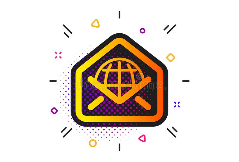 Web Mail icon. Message correspondence sign. Vector. Message correspondence sign. Halftone circles pattern. Web Mail icon. E-mail symbol. Classic flat web Mail royalty free illustration