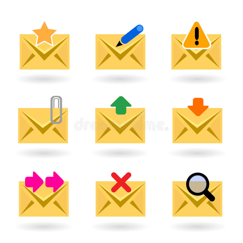 Web mail icons. Vector illustration of different web mail icons, features favorite mail, write, delete, alert, virus, download, send, search, forward and attach vector illustration