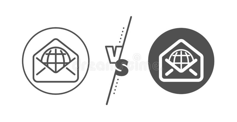 Web Mail line icon. Message correspondence sign. Vector. Message correspondence sign. Versus concept. Web Mail line icon. E-mail symbol. Line vs classic web Mail vector illustration