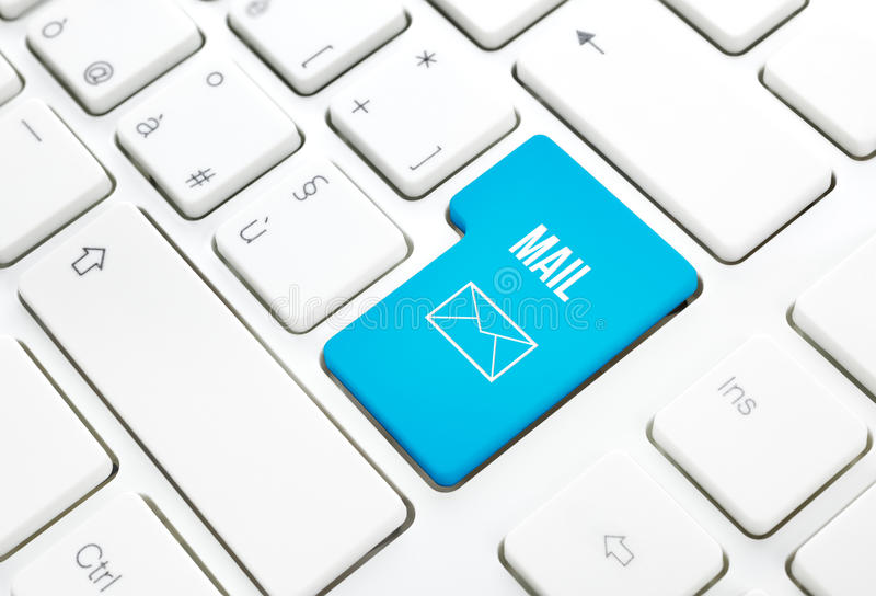 Web Mail business concept blue enter button or key on white keyboard. Web Mail network business concept, blue enter button or key on white keyboard photography royalty free stock photography