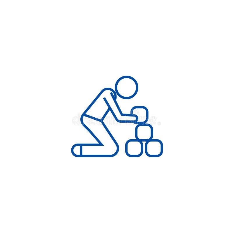 Man taking bricks line icon concept. Man taking bricks flat  vector symbol, sign, outline illustration. royalty free illustration