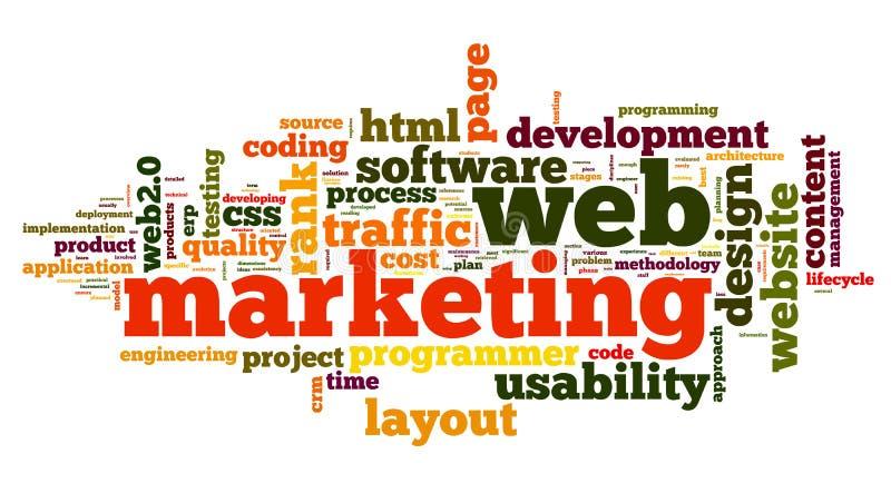 Web marketing concept in woordwolk stock illustratie