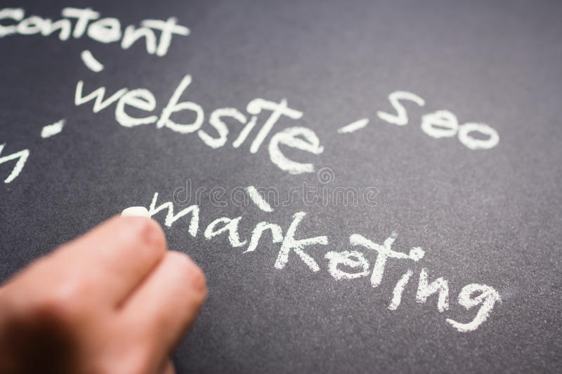 Web Marketing. Hand pointing at Marketing word of Website Creation concept on chalkboard royalty free stock images