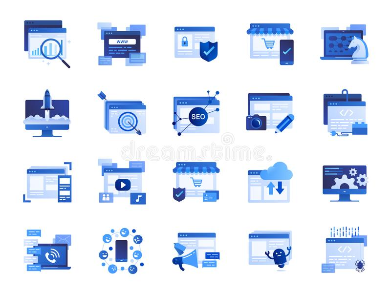 Web and marketing icon set. Included icons as SEO, statistics, content, online and more. vector illustration