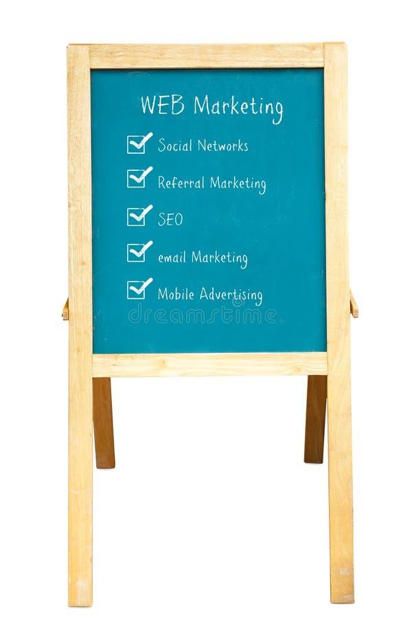 WEB Marketing plan. On a chalkboard royalty free stock photo