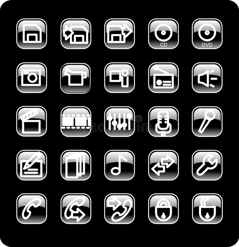 Download Web and media icon set stock vector. Illustration of floppy - 4950538