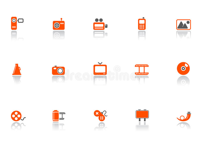 Download Web and media icons stock vector. Illustration of camcorders - 9395583