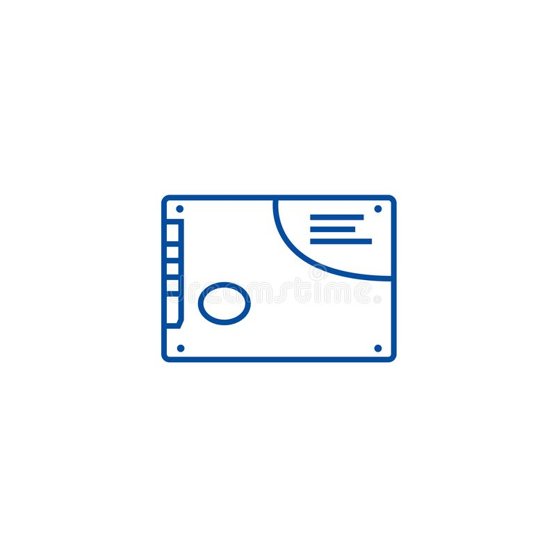 Memory card, ssd line icon concept. Memory card, ssd flat  vector symbol, sign, outline illustration. stock illustration