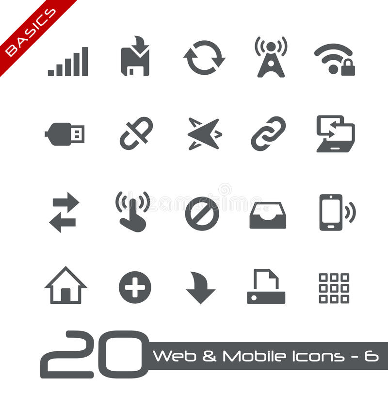 Web & Mobiele pictogram-6 //-Grondbeginselen stock illustratie