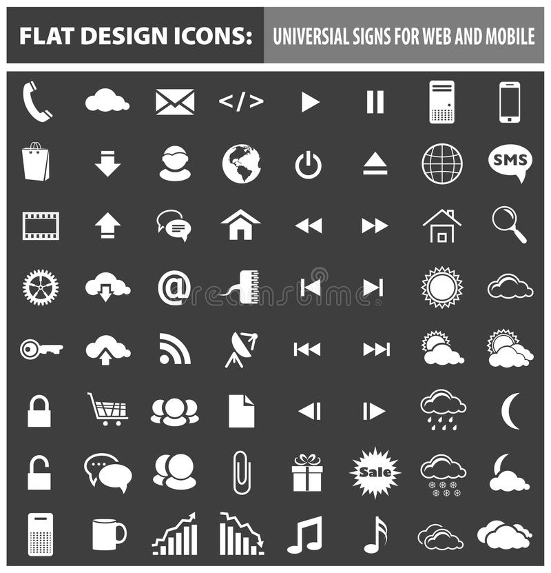 Web and mobile flat design icons, elements royalty free illustration