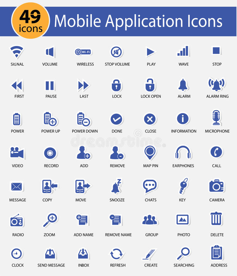 Web and Mobile icons,Blue version royalty free illustration