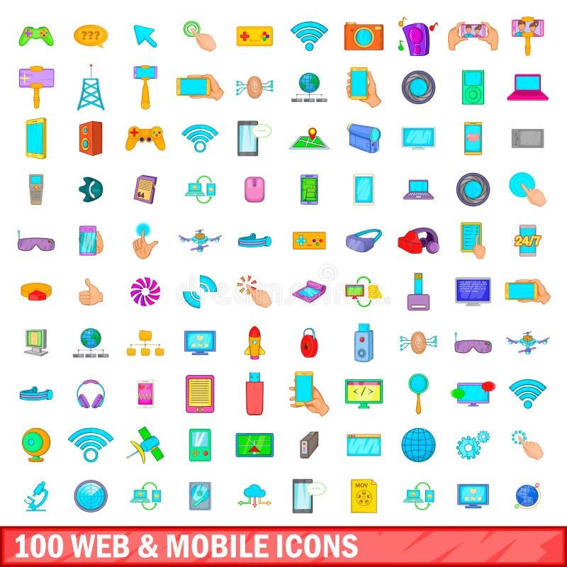 100 web and mobile icons set, cartoon style royalty free illustration