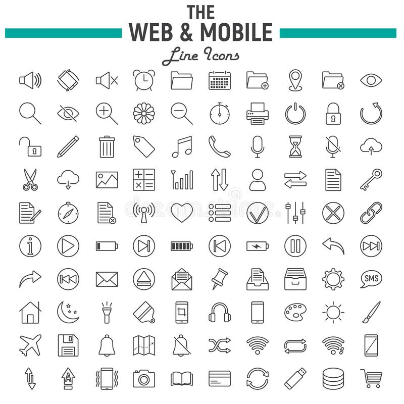 Web and Mobile line icon set, os interface symbols. Collection, vector sketches, logo illustrations, web signs linear pictograms package isolated on white stock illustration