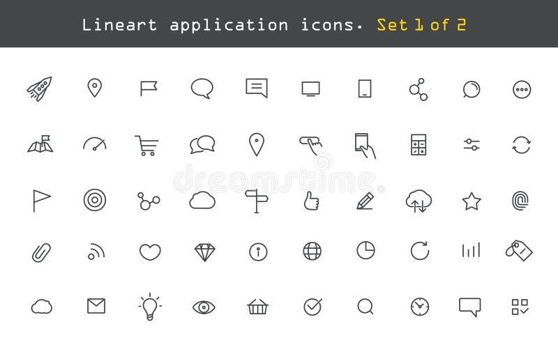 Web moderna e pictograma móveis da aplicação ilustração do vetor