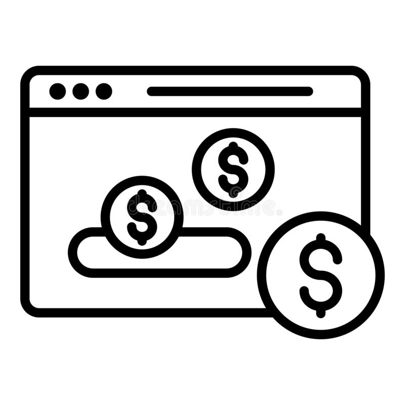 Web money page icon, outline style vector illustration