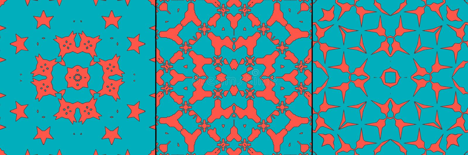 Moroccan coral tile - seamless pattern set. stock illustration