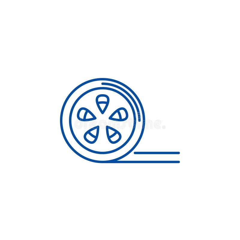 Movie reel line icon concept. Movie reel flat  vector symbol, sign, outline illustration. Movie reel line concept icon. Movie reel flat  vector website sign vector illustration