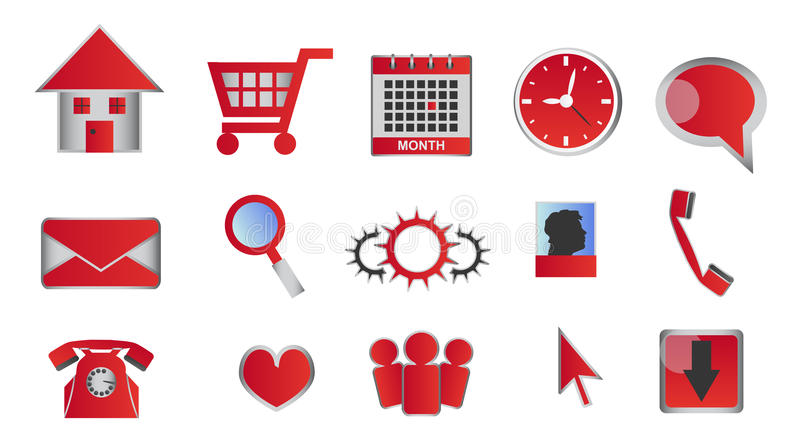 Web and multimedia glossy red icons and buttons stock illustration