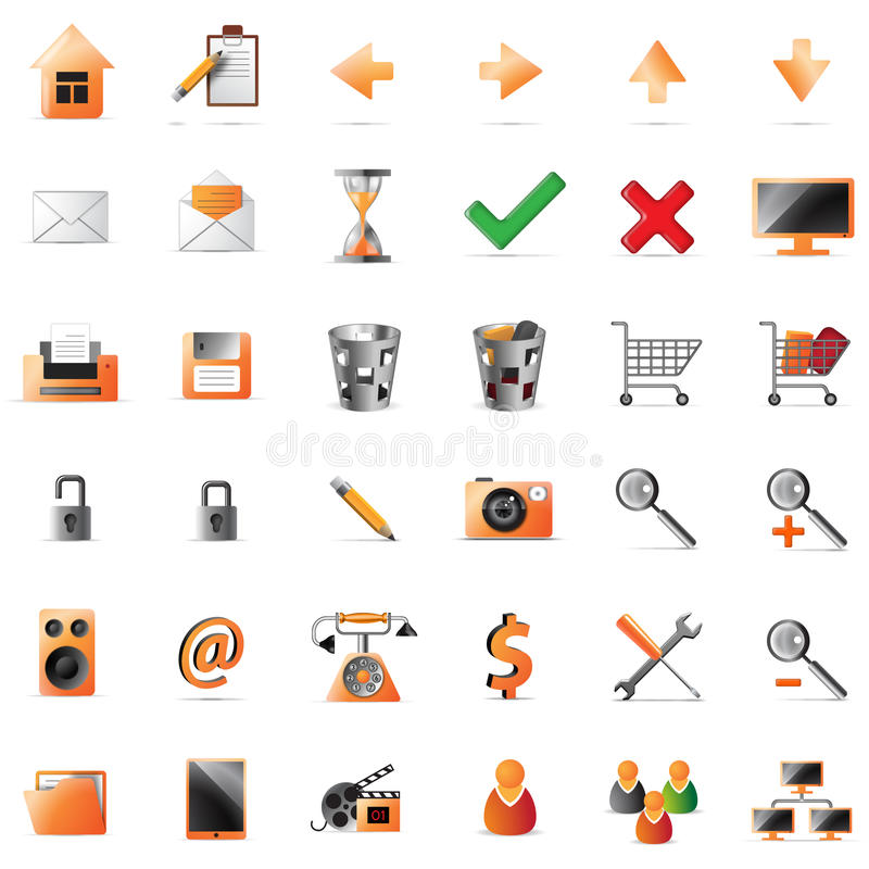 Download Web and multimedia icons stock vector. Image of email - 18454285