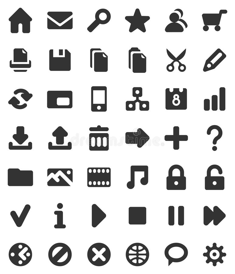Web and multimedia icons. Icons for web sites and multimedia applications vector illustration