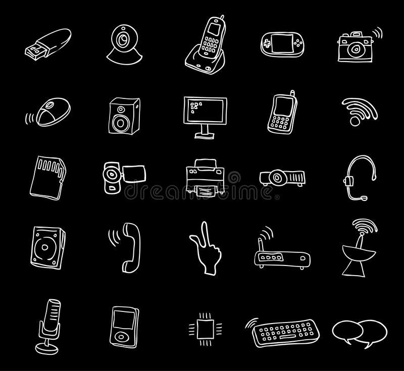 Web multimedia icons set - vector illustration royalty free illustration