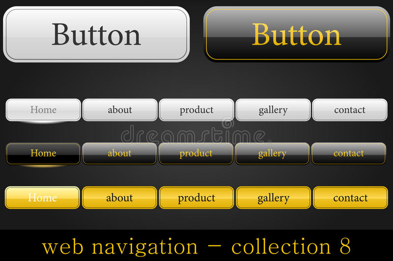Web navigation. Collection of web buttons in white-black-orange style royalty free illustration