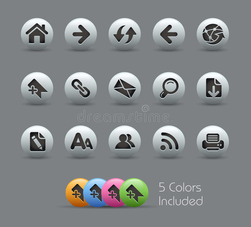 Web Navigation Icons // Pearly Series royalty free illustration