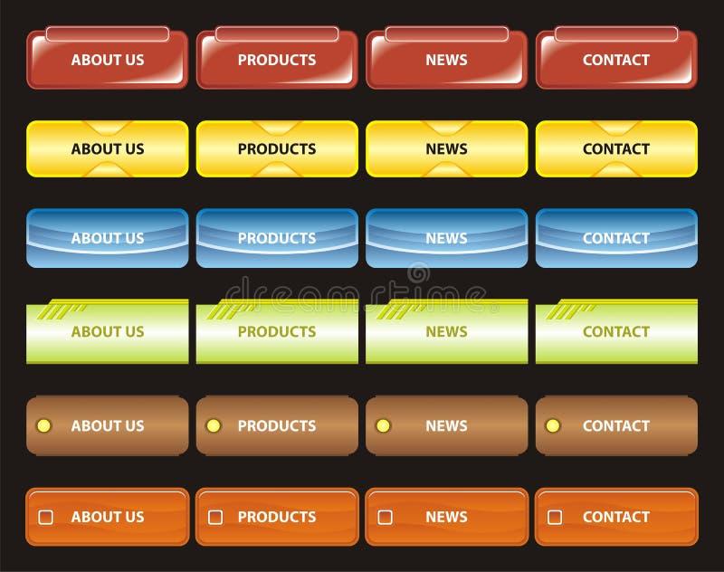 Web navigation templates. Various vector illustration of website menu in different colors royalty free illustration