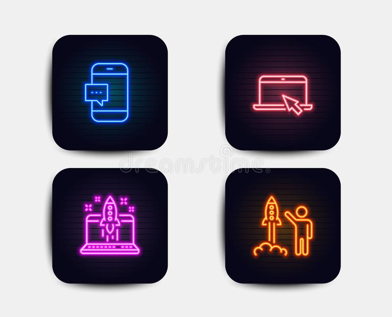 Web. Neon glow lights. Set of Portable computer, Start business and Smartphone message icons. Launch project sign. Notebook device, Launch idea, Cellphone chat royalty free illustration