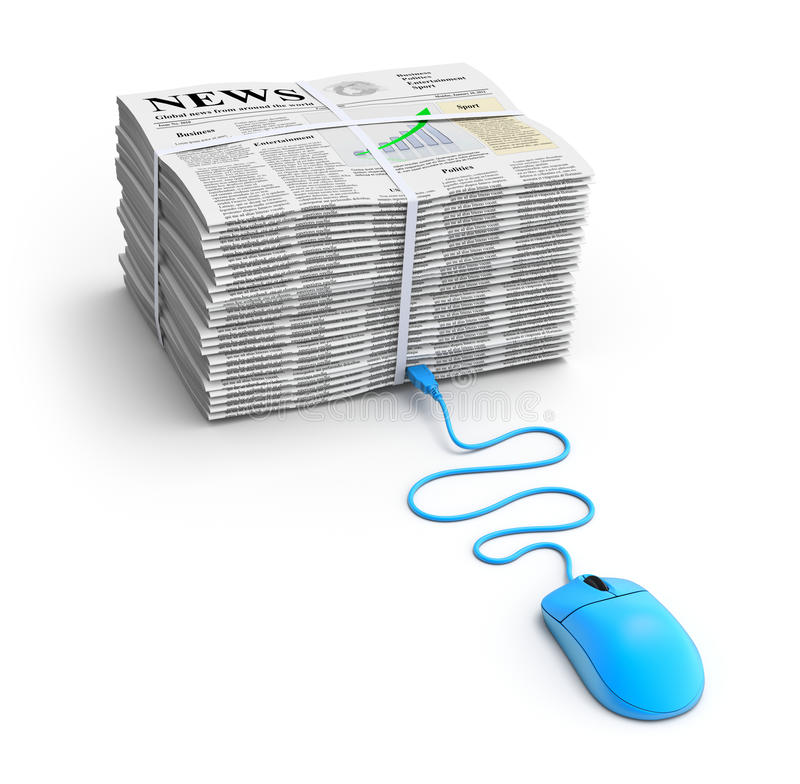 Web news concept. 3D concept with pile of newspapers with lorem ipsum text and computer mouse royalty free illustration