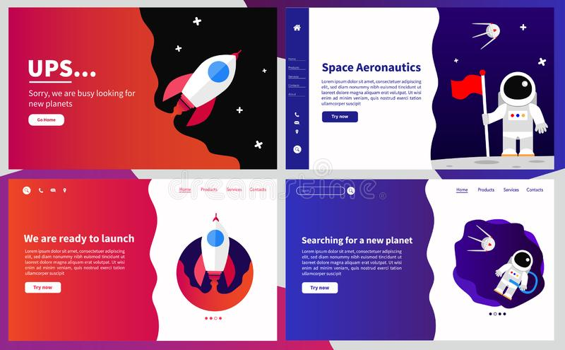 Simple user interface UX, UI screen template for mobile smart phone or responsive web site. Space aeronautics theme. vector illustration