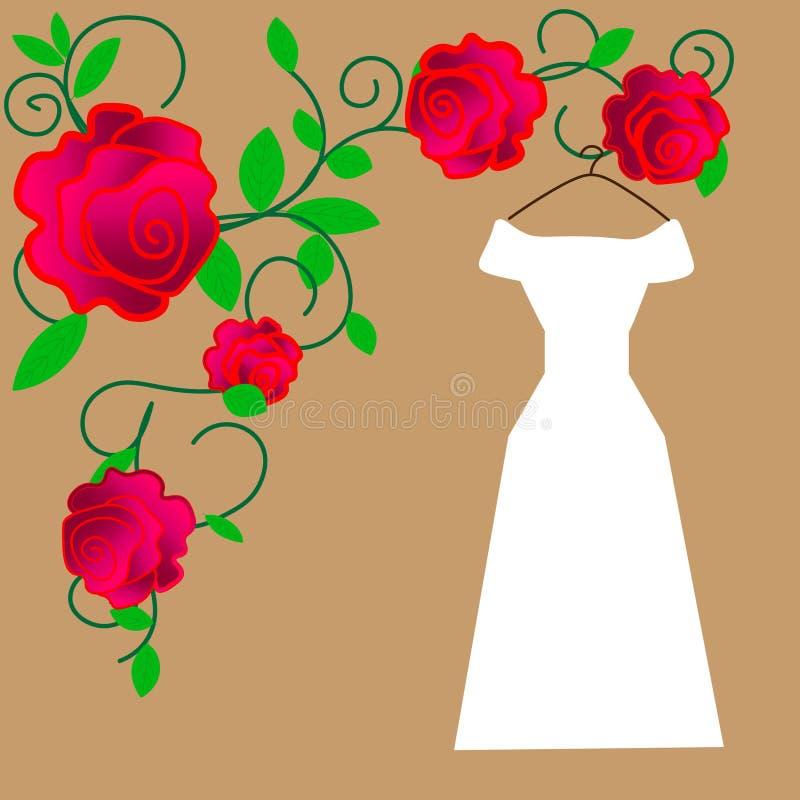 web Novia en el ejemplo hermoso del vector del vestido que se casa stock de ilustración