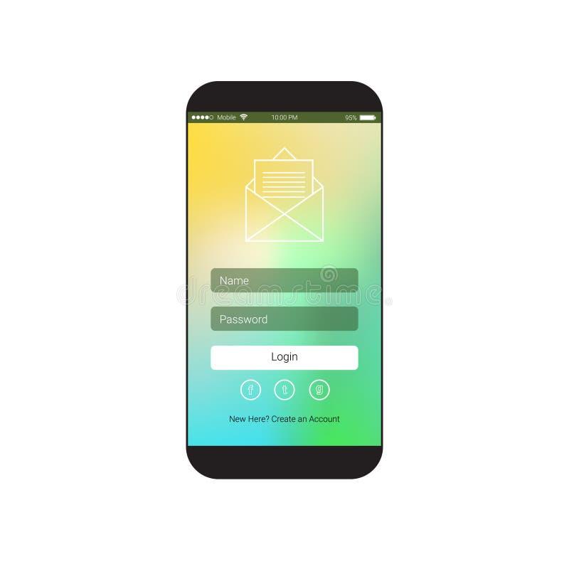 Web-Nutzer-Schnittstelle mit Anmeldung unterzeichnen herein Form auf Zellintelligentem Telefon-Schirm lizenzfreie abbildung