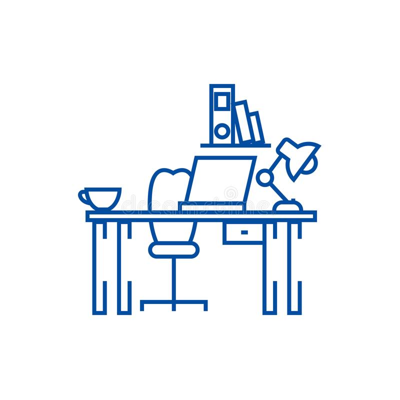 Office desk,home desk line icon concept. Office desk,home desk flat  vector symbol, sign, outline illustration. Office desk,home desk line concept icon. Office royalty free illustration